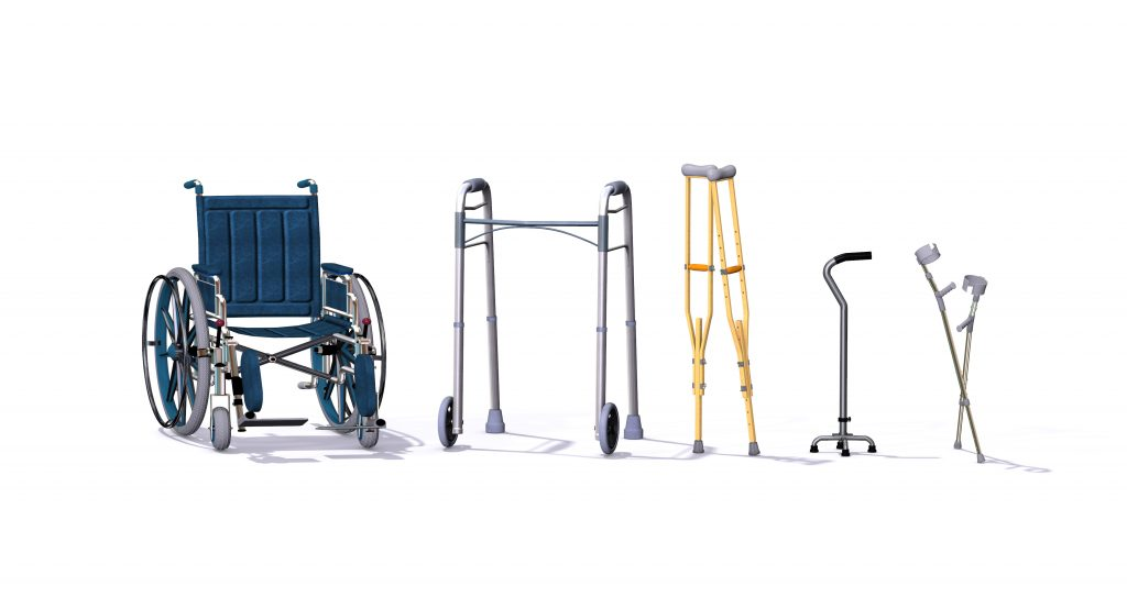 collection of mobility aids: wheelchair, walker, crutches, cane