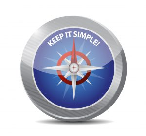"""Illustration of a compass with text """"Keep it Simple"""""""