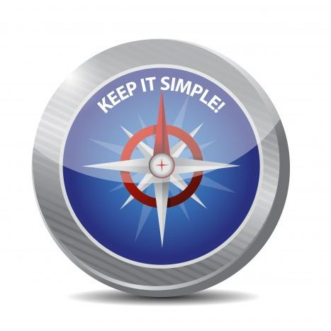 "Illustration of a compass with text ""Keep it Simple"""