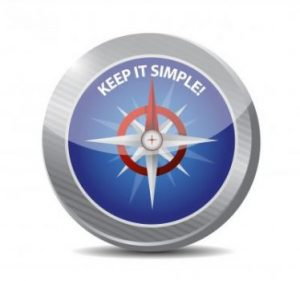 "image of a compass that says ""keep it simple!"""