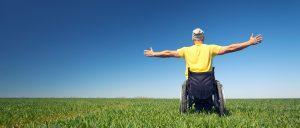 Man in wheelchair in grass field with arms outstretched looking out over the horizon
