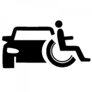 Illustration of an adapted vehicle for a wheelchair user