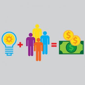 illustration of lightbulb(idea)+people=money